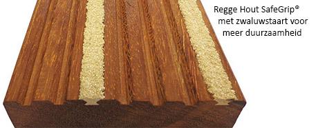 Hardhouten vlonderplanken met antislip, zwaluwstaart voor betere grip.